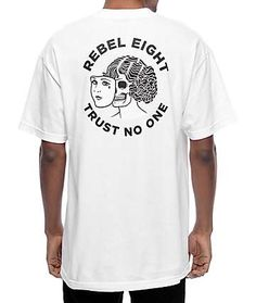 "The Two Faced tee from Rebel 8 features a woman with her face being removed and the words ""Trust No One"" underneath on the left chest and back. Design Kaos, Tee Design, T Shirt Graphic Design, T Shirt Designs, Graphic Shirts, Printed Shirts, Rebel 8, T Shirt Custom, T Shorts"