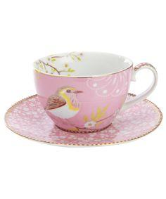 Pip Studio Pink Bird print Tea Cup