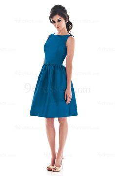 Elegant Zipper A-line Taffeta Knee Length Boat Bridesmaid Dress
