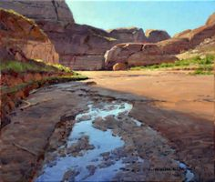 Moki Wash by Jim Wilcox Great Paintings, Nature Paintings, Beautiful Paintings, Oil Paintings, Mountain Landscape, Landscape Art, Landscape Paintings, Desert Landscape, Sky Painting