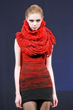 Johan Ku A/W 13 Fall Winter, Autumn, Knit Dress, Lana, Eye Candy, Knitwear, Runway, High Neck Dress, Wool