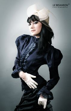 Steampunk Edwardian Silk Blouse - Decadent Midnight - Gothic Victorian Ruffle Style - Custom to your size and pick your color on Etsy, $219.72 CAD