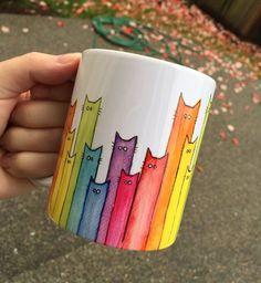 Cat Mug Rainbow Cats Ceramic Mug Cute Coffee Mug Whimsical Animals Funny Gift Cat Lover Coworker Gift Animal Mug Rainbow Mug Cat Gifts, Cat Lover Gifts, Cat Lovers, Funny Mugs, Funny Gifts, Diy Becher, Cute Coffee Cups, Pottery Painting Designs, Painted Coffee Mugs