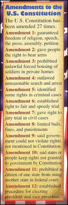 Constitutional Amendments (In case you forgot) RECENTLY ADDED: Amendment 13: Hillary Clinton as well as Barack Obama shall not be held accountable for any stautes of the law that would lawfully allow prosecution. (Well, it may as well be).. READ THEM