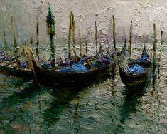 "Gondolas, 16"" x 20"", Oil painting"