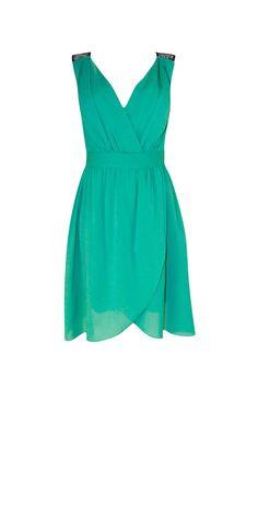MOD: 131437 Vestido  Verde Cruzado Corto con Espalda en Encaje Negro