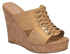 Soda Women's Open Toe Strappy Cutout Cork Platform Wedge Slip On Sandal *** Click on the image for additional details. (This is an affiliate link) #womensandle