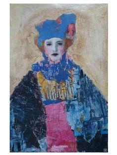 La Femme Arc en Ciel by Céline Ranger at Lime Tree Gallery Abstract Portrait, Portrait Art, Mix Media, Mixed Media Art, Expressive Art, Art Fair, Figure Painting, Face Art, Figurative Art