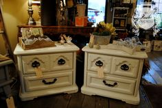 Matching nightstands done in a custom mix of #MaisonBlanchePaint Maison White and Vanille with #Fiddes light wax.  #ChalkPaint #Furniture #Painting #ShabbyChic