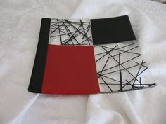 Glass Fusion 10X10 Sushi style dish in reds and blacks