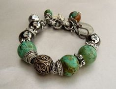 Magic Carpet with Natural Turquoise, Silver and Charms.