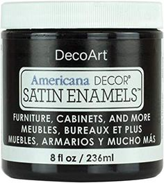 Deco Art Americana Decor Satin Enamels Black, 7 x 7 x 8 cm Black Furniture, Painted Furniture, Painted Armoire, Refinished Furniture, Chalky Finish Paint, Thing 1, Painting Kitchen Cabinets, Diy Cabinets, Enamel Paint