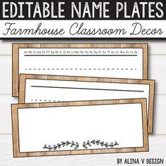 FREE Editable Name Plates- Farmhouse Classroom Decor - Ru