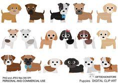Cachorros Digital clip art parte 2 para por Giftseasonstore en Etsy