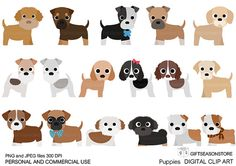 Puppies Digital clip art part 2 for Personal and Commercial use - INSTANT DOWNLOAD