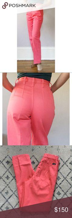 "Vintage Wrangler Silverlake Pink High Rise Jeans tem: Extra High Rise Back-Pocketless Coral Pink Jeans Brand: Wranglers Style name: Silverlake  Condition: MINT! Labeled Size: 5/6 Material: 100% cotton denim MEASUREMENTS taken flat: waist:13"" length/inseam: 32"" rise: 13"" !!!! Wrangler Jeans"