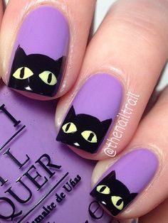 These Creepy, Kooky Nail Art Ideas Are Only for the Hallowee.- These Creepy, Kooky Nail Art Ideas Are Only for the Halloween-Obsessed 100 Halloween Nail Art Designs & Ideas - Cat Nail Art, Cat Nails, Halloween Nail Designs, Halloween Nail Art, Halloween Ideas, Chic Halloween, Creepy Halloween, Purple Nail Designs, Cute Nail Designs