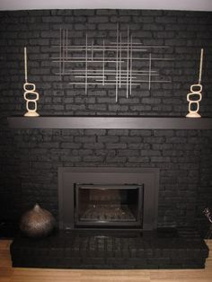 Fireplace Painted Black-this is what mine will look like in a couple of weeks!!!! Can't wait!