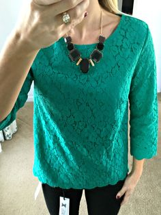 Love the color and style of this Stitch Fix Crescent Weaver Lace Overlay top!
