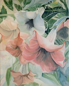 Angel's Trumpet Spring Flower Pastel Decor by sherrinelsonstudio, $14.50