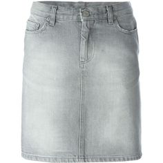 Helmut Lang Vintage Distressed Denim Skirt (1.095 RON) ❤ liked on Polyvore featuring skirts, grey, gray skirt, helmut lang, vintage skirts, helmut lang skirt and grey skirt