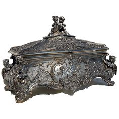 $6500.00 - Antique WMF Silver Jewelry Box with Cupid Motif - Country of Origin:France Style:Rococo Maker:WMF Condition:Restored Year:19th C. Description:Spectacular French Rococo antique WMF silver jewelry bo. Highly detailed figural cherubs throughout
