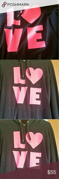 Victoria's Secret hoodie. Dark gray with hot pink print.  Has pocket and hood strings.  Loose fitting more comfortable for 10-12.  Lightly worn.  Soft material. Victoria's Secret Tops Sweatshirts & Hoodies