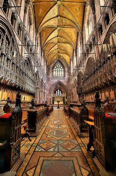 the Choir and main altar of Chester Cathedral, Chester, Cheshire, England photo by Nick Garrod Chester Cathedral, Cathedral Church, Religion, Sightseeing London, Chester City, Cheshire England, Church Interior, Church Architecture, Old Churches