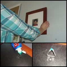 Hang Pictures Straight With Toothpaste. I use this trick for everything. Works like a charm.