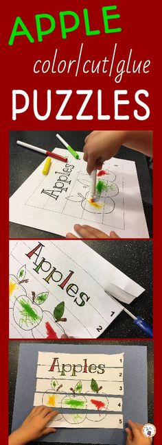 Apple Color, Cut and Glue Puzzles Preschool At Home, Preschool Themes, Preschool Lessons, Preschool Puzzles, Preschool Learning, Learning Activities, Apple Activities, Craft Activities For Kids, Nanny Activities