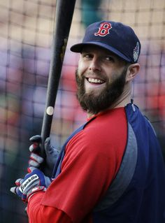 Boston Red Sox second baseman Dustin Pedroia waits to hit during batting practice before Game 5 of baseball's World Series against the St. Louis Cardinals, Monday, Oct. 28, 2013, in St. Louis. (AP Photo/Matt Slocum)