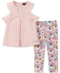 Little Girl Kids Long Sleeve Tunic Solid Top Floral Legging Pant Tight Set 2T-8