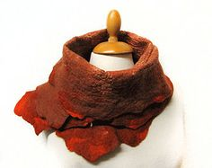 Rust and copper scarf nuno hand felted with merino wool and silk