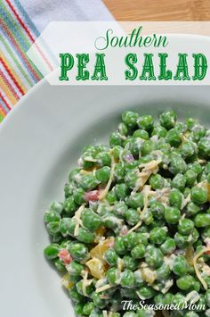 Southern Pea Salad: This sweet pea salad is the perfect side dish, kept healthy with the addition of Greek yogurt. It's so tasty that even non-pea-lovers (like my husband) LOVE it! Pea Salad Recipes, Veggie Recipes, Cooking Recipes, Healthy Recipes, Easy Cooking, Vegetarian Cooking, Veggie Food, Easy Recipes, Easy Meals