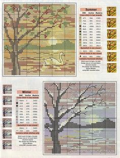seasonal cross stitch lake tree swan mountains