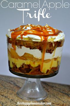 Easy Caramel Apple Trifle is no fail! Just layer and eat!! Trifle Bowl Recipes, Trifle Dish, Trifle Recipe, Dessert Recipes, Trifle Pudding, Oreo Trifle, Chocolate Trifle, Banana Pudding, Healthy Chocolate