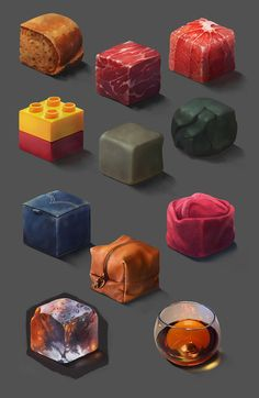I have been doing some material study for a class over the past few weeks and I wanted to share them with you guys! for some of them I go stylized and for the other I tried to step out from my comfort zone and paint them in a realistic way. Texture Drawing, Texture Art, Texture Painting, Digital Painting Tutorials, Digital Art Tutorial, Art Tutorials, Digital Paintings, Drawing Tutorials, Paint Photoshop