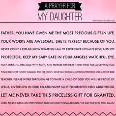 A Mother's Prayer for her daughter #pray. Visit for more prayers for your family.