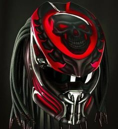 THE GREAT ALIEN PREDATOR HELMET RED SKULL STYLE SIZE S, M, L, XL, #CELLOS