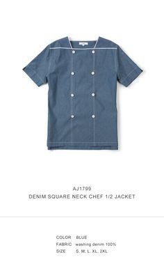 denim square neck chef 1/2 shirts #AJ1799