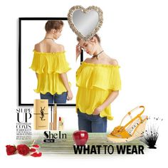 """""""yellow top"""" by antonia88 ❤ liked on Polyvore featuring Yves Saint Laurent, Anne Klein, Bomedo and Gallery"""
