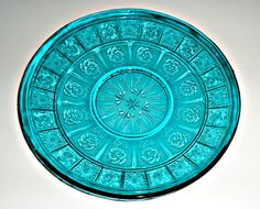 Doric and Pansy Saucer Depression Glass Teal Pretty Polly Saucer  1930s