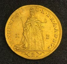 Hungary Double Gold Ducat coin of 1764, Maria Theresa, Archduchess of Austria, Holy Roman Empress, and Queen of Hungary and Bohemia.