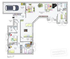 Plan habillé - maison - Maison de plain-pied de quatre chambres