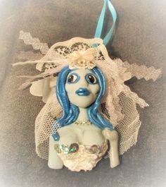 CORPS BRIDE Ornament ooaK art doll polymer clay pendant Halloween walking dead