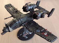 Ork Scratchbuild Dakka Jet, based on the A-10 aircraft, conversion, Warhammer 40k.