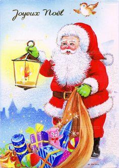 Joyeux Noël - Le Père Noël avec une lanterne et son sac plein de cadeaux, un oiseau au-dessus de sa tête (from http://mercipourlacarte.com/picture?/1466/)