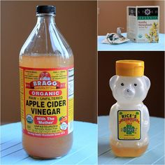 Sore Throat Tea- brew your favorite bag of tea in hot water, then add 1 T apple cider vinegar and 1 T of honey.
