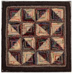 Log Cabin Pattern Hooked Rug | From a unique collection of antique and modern rugs at http://www.1stdibs.com/furniture/folk-art/rugs/