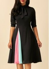 Patchwork Tie Neck Half Sleeve Black Dress  02bb76dc6c5de